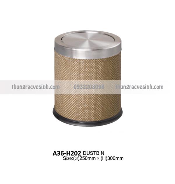 Thùng rác bọc da chống cháy nắp lật A36-H202