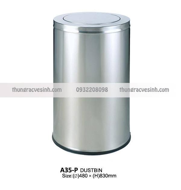 Thùng rác inox nắp lật A35-P