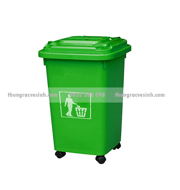 Thùng rác nhựa 60 lít có bánh xe