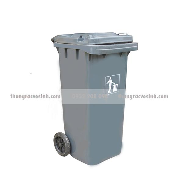 Thùng rác vệ sinh 120 lít màu ghi