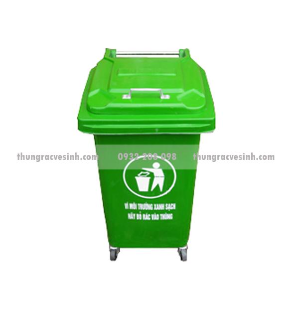 Thùng rác nhựa 60 lít có bánh xe, tay cầm